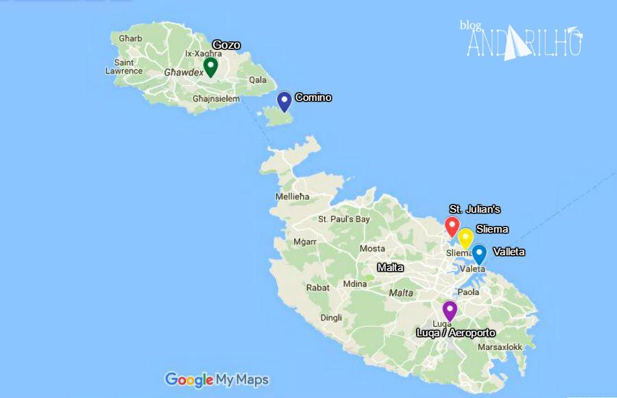 mapa de malta em portugues Malta: dicas para planejar a sua viagem – Blog Andarilho mapa de malta em portugues